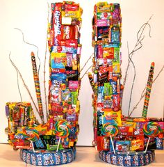 Fabulous Centerpiece for Bar Mitzvah Boy used on his Candy Buffet by COVERED IN CANDY!!