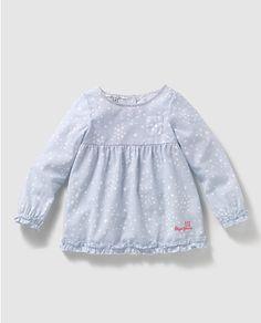 Blusa de niña en azul de manga larga