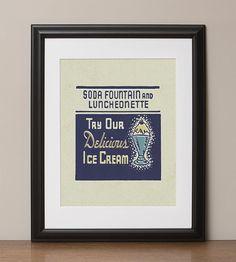 Try Our Delicious Ice Cream Retro Advertising Art Print by HotFishReproRetro, $22.00