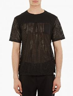 White Mountaineering Black Mesh Panels Pocket T-Shirt The White Mountaineering Mesh Panels Pocket T-Shirt for SS16, seen here in black. - - - This black t-shirt from White Mountaineering, made in Japan and crafted from premium cotton, features a lower se http://www.MightGet.com/january-2017-13/white-mountaineering-black-mesh-panels-pocket-t-shirt.asp