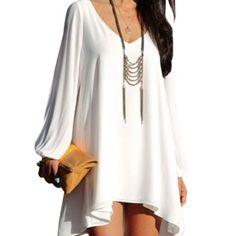 "Loose Fit Chiffon Dress White chiffon dress has split arms and hi/low silhouette. Front Length 29"" Back Length 35"" OASAP Dresses Mini"