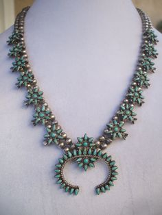Old pre 1930s ZUNI Sterling Silver & TURQUOISE Petit Point Cluster SQUASH BLOSSOM NECKLACE