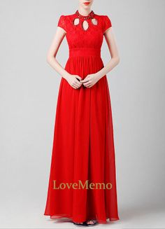 Red long lace prom/evening/bridesmaid/ballgown/party by LoveMemo, $120.00