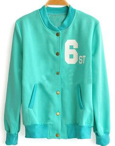SheInside : Green CAU 6ST Print Crew Neck Long Sleeve Bomber Jacket $36.48 - Also in pink.