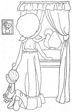 Coloring Book~HH Favorite Places - Bonnie Jones - Álbuns da web do Picasa Cute Coloring Pages, Coloring Pages To Print, Hand Embroidery Patterns, Vintage Embroidery, Vintage Coloring Books, Holly Hobbie, Patch Quilt, Applique Designs, Fabric Painting
