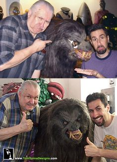 Before and after with the original wolf used in An American Werewolf in London and our old friend Bob Burns!