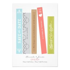 Library Book Save the Date Personalized Announcement
