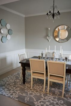 Valspar Simple Gray dining room from the Family Room. Also shows her other paint colors and home tour. LOVE The wall color and the rug! Dining Room Paint, Dining Room Design, Dining Rooms, Kitchen Design, Valspar Paint Colors, Valspar Gray, Valspar Lowes, Lowes Paint Colors, Home Interior