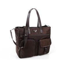203d8a81e3 Fashion  Prada Original Grainy Calf Leather Flap Bag Outlet store. See  More.  Prada Men Coffee Totes