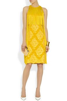 Stella McCartney | Fringed lace and crepe dress | NET-A-PORTER.COM