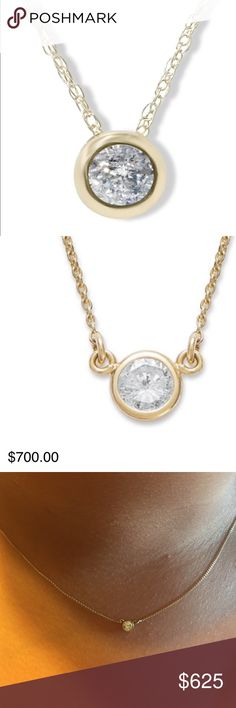 "💝Gorgeous 14K Bezel Diamond Pendant Neklace💝 Beautiful 1/5 CT 14K gold bezel set solitaire diamond pendant necklace , 18"" long. It's absolutely stunning . There are very few pieces of jewelry that can take your breath away like a diamond solitaire necklace. Graceful and elegant this necklace looks spectacular no matter what your wearing. Goes with everything and can be dressed up or down. 😍 Any Q's just tag me , this retails $700 + tax Thanks for peeking in my closet ! Bezel Diamond…"