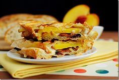 Bacon, Fontina Cheese & Peach Panini...drizzled with honey mustard