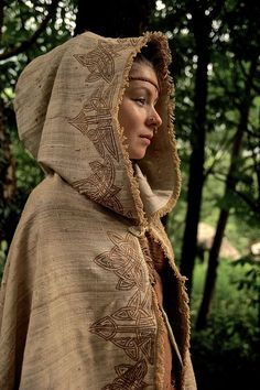 Celtic Medieval Cloak, made of Hand Woven Raw Silk and Wool Fantasy Fairy Poncho by AnuttaraCrafts