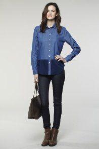 Long Sleeve Bi-color Denim Shirt
