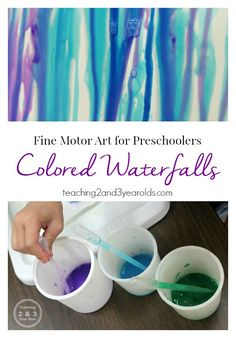 These beautiful colored waterfalls are a fun way to strengthen fine motor development. Working in an upright position, this challenges the hands and fingers more than working on a flat surface. Our preschoolers love this activity, and it's calming for bus