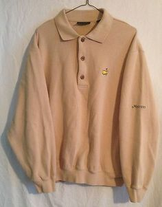 Mens EUC Medium Masters Collection Polo Golf Sweater Pullover Tan Beige 100% Cot