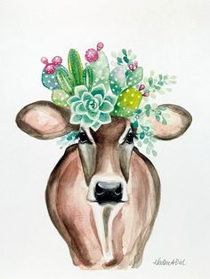Art And Illustration, Cow Drawing, Cow Pictures, Farm Art, Cow Painting, Cow Art, Floral Crown, Watercolor Print, Painting Inspiration