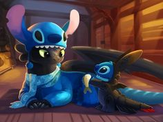 """""""Stitch and Toothless"""" by TsaoShin - dressed as each other! So cute, I just can't stand it. (Look at Toothless' scarf!) Even though Toothless isn't Disney, I will put them here Art Disney, Images Disney, Disney Magic, Disney Movies, Disney Crossovers, Disney Stuff, Disney Characters, Kid Movies, Movie Tv"""
