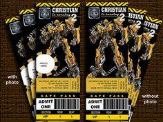 Transformers Birthday Invitation Bumblebee by Nevindigiprints, $8.00