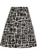 MARNI Printed satin-twill A-line skirt