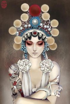 Chinese illustrator and comic artist Xiao Bai has studied traditional Chinese painting since a young age. Her slick and beautiful illustration work feature Art Beat, Chinese Opera, Chinese Art, Alternative Kunst, Kunst Tattoos, Art Asiatique, Desenho Tattoo, Chinese Painting, Comic Artist