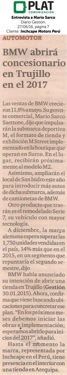 Inchcape Motors: Entrevista a Mario Sarco en el diario Gestión de Perú (27/06/16)