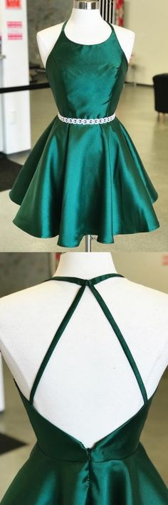 Cute A Line Round Neck Backless Green Satin Short Homecoming Dresses with Beading, Simple Short Dresses, Shop plus-sized prom dresses for curvy figures and plus-size party dresses. Ball gowns for prom in plus sizes and short plus-sized prom dresses for Green Homecoming Dresses, Hoco Dresses, Dresses For Teens, Sexy Dresses, Beautiful Dresses, Formal Dresses, Dress Prom, Emerald Homecoming Dress, Champagne Homecoming Dresses
