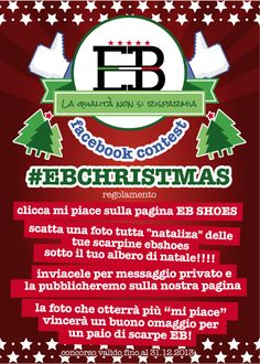 """A # Christmas plays with EB SHOES! A picture of a shoe SHOES EB under the tree, send it to us via private mail, we will publish it! The photo that gets the most number of """"Likes"""" will win a shoe GIVEAWAY!"""