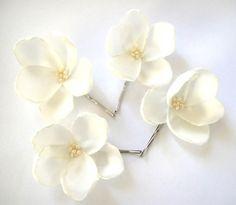 fabric flower hair pins