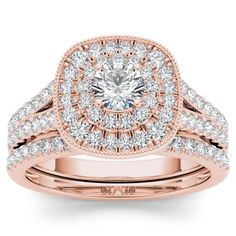 De Couer 14k Rose Gold 3/4ct TDW Diamond Double Halo Bridal Ring Set