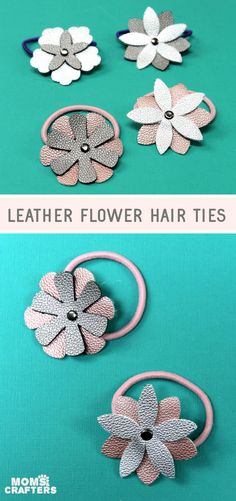DIY leather flower hair ties made using faux leather on my Cricut. This fun leather Cricut craft for beginners is easy and a cool DIY hair accessory for girls - babies, toddlers, kids, even teens and tweens! Leather Bracelet Tutorial, Diy Leather Earrings, Leather Keychain, Leather Jewelry, Diy Leather Hair Accessories, Diy Fashion Accessories, Flower Hair Accessories, Diy Leather Flowers, Felt Headband