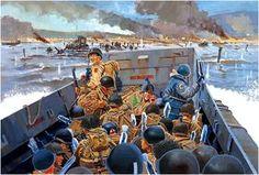"""U.S:ARMY - Sbarco di un reparto della 1a Infantry Division"""" Big Red One"""" alla """"Easy Red Beach"""". ore 07:30 D-Day, Normandia 1944"""