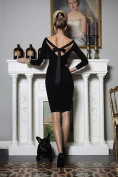 Simple black dress with beautiful back detail. The Frenchie is awesome and I still want one!!!
