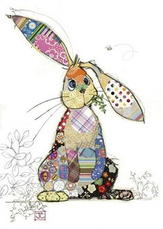 Binky Bunny bug art greeting card-Designed by Jane Crowther Collage Kunst, Collage Art, Applique Patterns, Applique Quilts, Applique Ideas, Binky Bunny, Pintura Graffiti, Bug Art, Motifs Animal