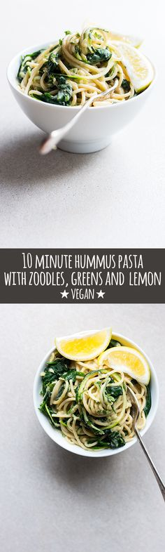 Hummus pasta tossed with zoodles, greens and lemon is an easy, high protein meal that's creamy, bright and lemony, and on the table in under 10 minutes via @quitegoodfood