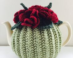 Handmade Floral Tea Cosy - in Pure Wool - Size Medium - fits standard 4-6 cup teapots - Green & Deep Red