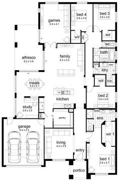 Floor Plan Friday: 4 bedroom family home. Living as office/ library.