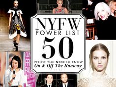 New York Fashion Week Power List: 50 People You Need To Know On and Off the Runway