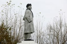 A monument to Lenin stands in a park in the Siberian town of Uzhur in the Krasnoyarsk region of Russia on September 28, 2017.