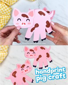 Handprint Pig Craft - This handprint pig craft is an easy paper craft for preschool kids! Make it for the year of the pig - Farm Animal Crafts, Pig Crafts, Animal Crafts For Kids, Diy Crafts For Kids, Easter Crafts, Farm Animals, Dinosaur Crafts, Creative Crafts, Yarn Crafts