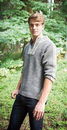 Men's Staghorn Waffle Sweater from Knit Picks' new Northwoods Collection. Combines cables and intarsia for a sporty fall sweater. Ravelry: Men's Staghorn Waffle Sweater pattern by Daniela Nii