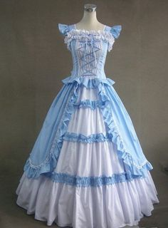 Unique, Elegant Designer Light Blue Sleeveless Long Gothic Victorian Gown for Full Selection of gothic victorian lolita dresses, Tailor Made, Fast Shipping. Buy Light Blue Sleeveless Long Gothic Victorian Gown Now! Old Dresses, Ball Gown Dresses, Pretty Dresses, Vintage Dresses, Beautiful Dresses, Dress Up, Prom Dress, Lace Dress, Bridesmaid Dress