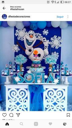 Diff colors add more purple Olaf Birthday, Frozen Birthday Theme, Frozen Themed Birthday Party, 6th Birthday Parties, Anna Frozen, Frozen Princess, Frozen Birthday Decorations, Disney Frozen Birthday, Diy Christmas