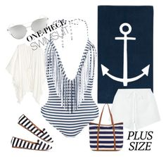 """""""Plus siZe SwimmSuit"""" by betty-bossy ❤ liked on Polyvore featuring Navy, Chicnova Fashion, Chloé, H&M, Accessorize, stylishcurves and plussizeswimsuit"""