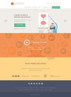 Headspace, flat design website, colrful