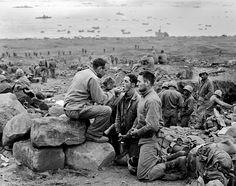 JAPAN. Iwo Jima. February 1945. Marines receive communion.  Photograph: Joe Rosenthal/AP