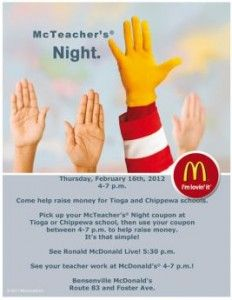 McDonald's is one of many restaurant companies that market to children through school fundraising nights.  Restaurants offer schools a cut of one night's profits in exchange for the school marketing the restaurant to students and encouraging them to eat there on a designated night.