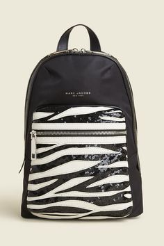 07fc0c5bb8 A novelty version of a trusty backpack with patchwork leather and sequins.  Shop the Marc Jacobs Sequin Zebra Biker Bag.