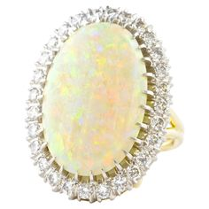 Colorful Opal Diamond Gold Ring   From a unique collection of vintage fashion rings at https://www.1stdibs.com/jewelry/rings/fashion-rings/