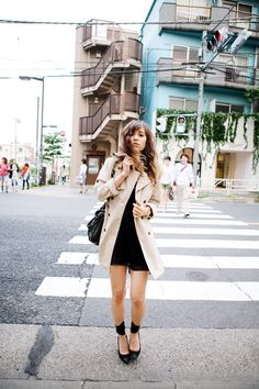 fashiontoast   06/11/2011 daikanyama at dusk Mercury Duo trench coat, Twentysevennames dress, Balenciaga bag, Isabel Marant Gava pumps.